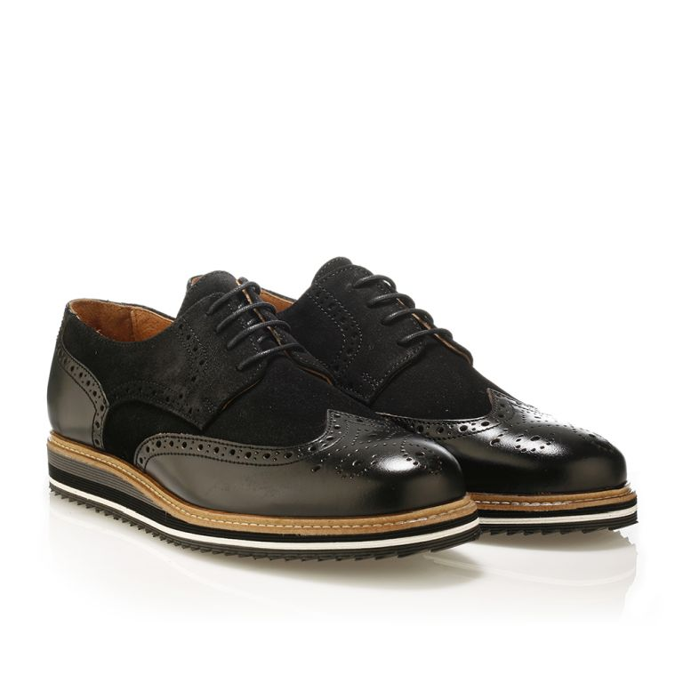Jack Morgan δερμάτινο derby παπούτσι σε μαύρο Μαύρο