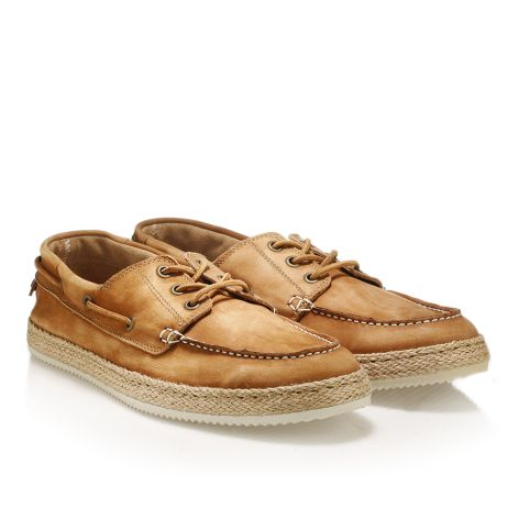 Mens' leather boat shoes  Camel