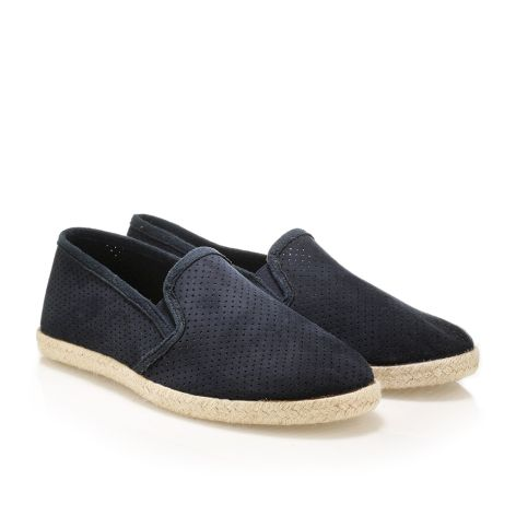 Mens leather espadrilles Navy