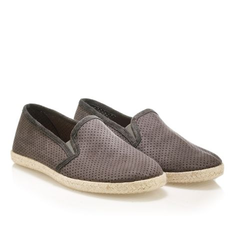 Mens leather espadrilles Grey