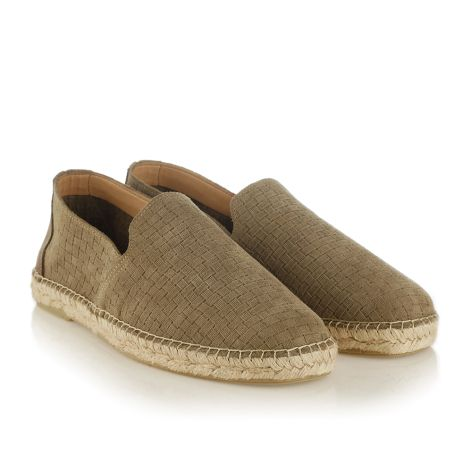 Mens leather espadrilles   taupe