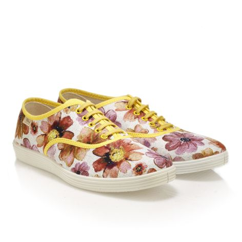 Womens' casual floral shoes  yellow