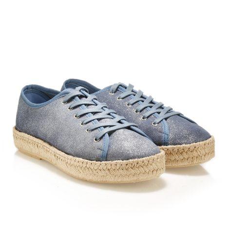 Casual δερμάτινα μεταλλιζέ παπούτσια  Μπλε μεταλλιζέ
