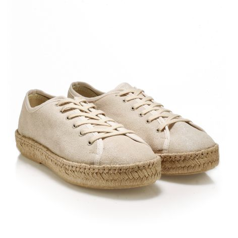 Casual δερμάτινα μεταλλιζέ παπούτσια   Μπεζ