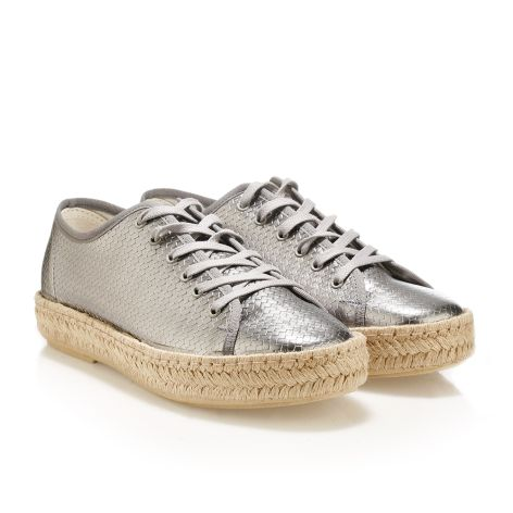 Leather metallic shoes Silver