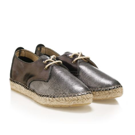 Womens' leather espadrilles Steel