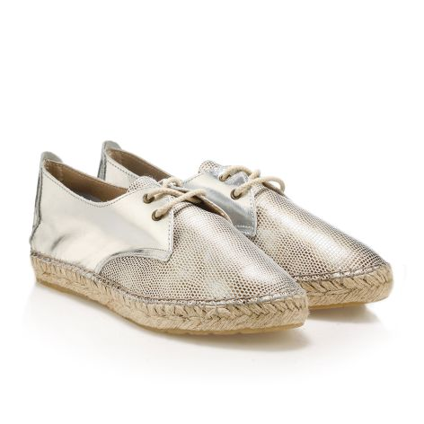 Womens' leather espadrilles  Silver