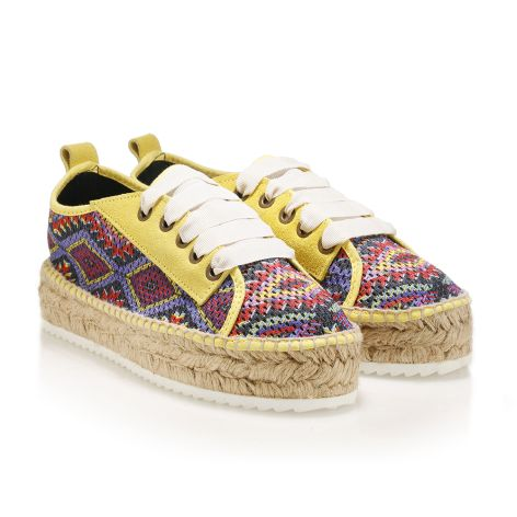 Womens' casual shoes with an ethnic motif Yellow/Ethnic