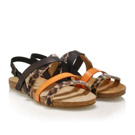 Pi-grec women's leather sandals Black/orange/leopard