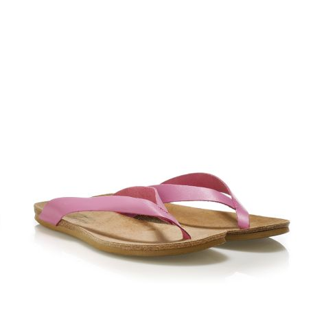 Donna Donati women's leather flip flops Pink