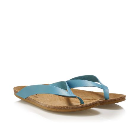 Donna Donati women's leather flip flops Lt.Blue
