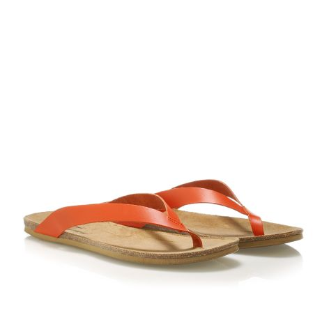 Donna Donati women's leather flip flops Orange