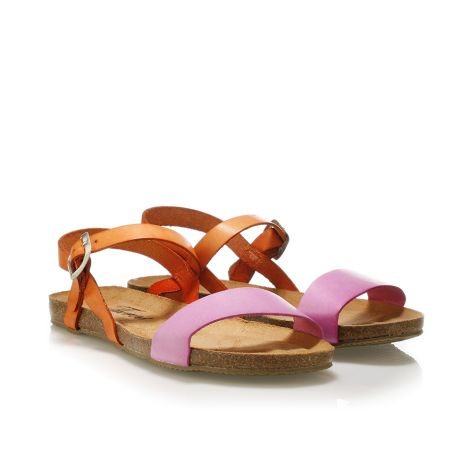 Donna Donati women's leather sandals Orange-Fuschia