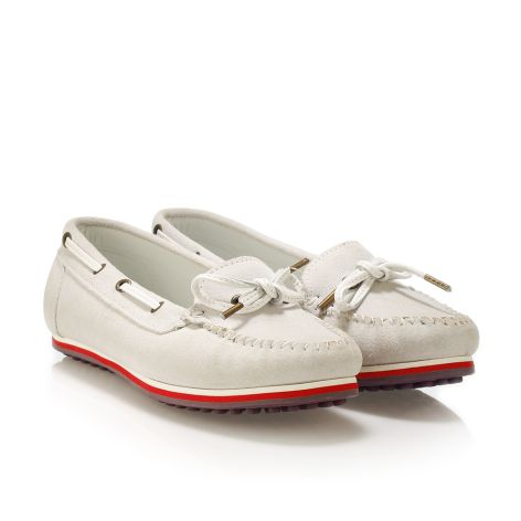 Donna Donati women's leather loafers White