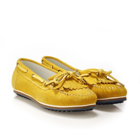 Donna Donati women's leather loafers Yellow