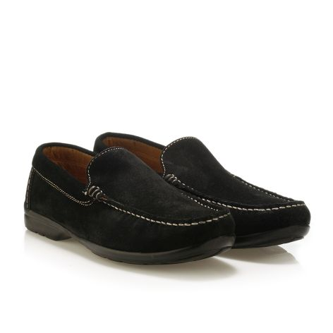 Mario Donati men's leather moccasins Black