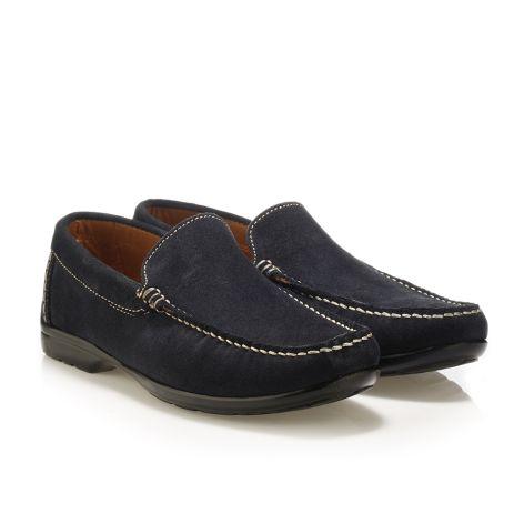 Mario Donati men's leather moccasins Navy