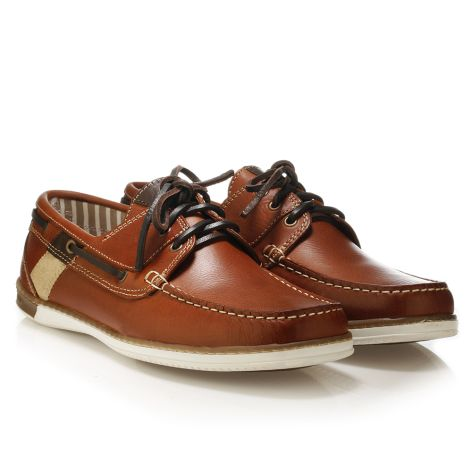 Mario Donati men's leather boat Whiskey