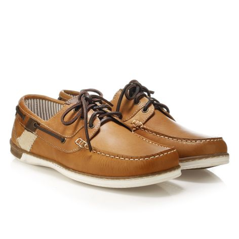 Mario Donati men's leather boat Tan