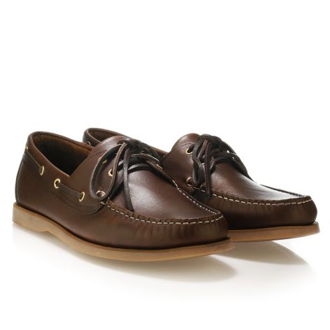 Mario Donati men's leather boat Dark Brown