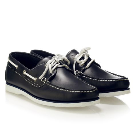 Mario Donati men's leather boat Navy