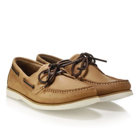 Mario Donati men's leather boat Camel