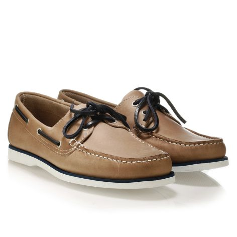 Mario Donati men's leather boat Sand