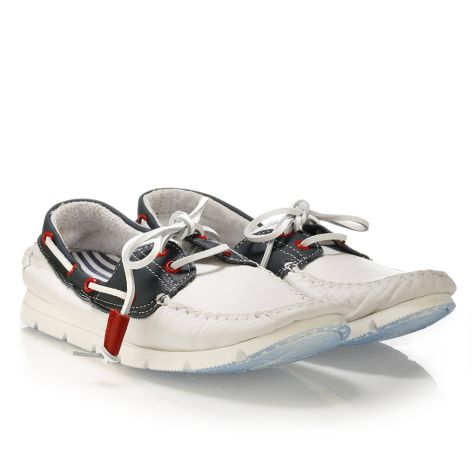 Mario Donati men's leather boat White/Navy
