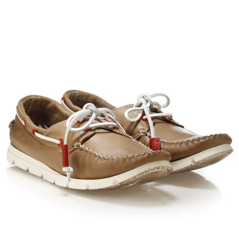 Mario Donati men's leather boat Taupe