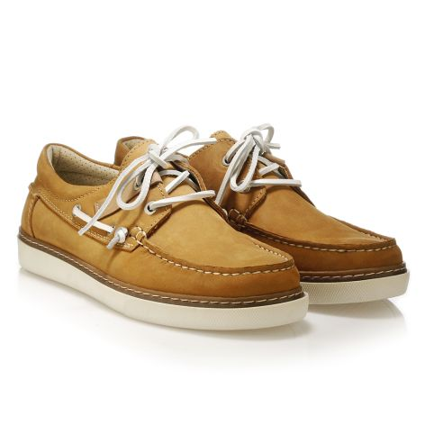 Mario Donati men's leather boat Ochre