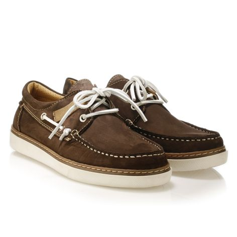 Mario Donati men's leather boat Brown