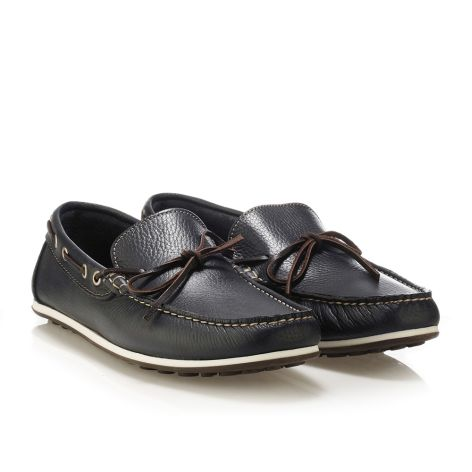 Mario Donati men's leather moccasins Navy