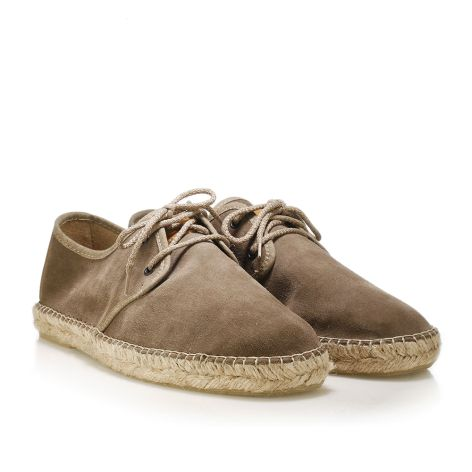 Mario Donati leather espadrilles with laces Taupe
