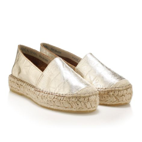 Metallic leather espadrilles gold