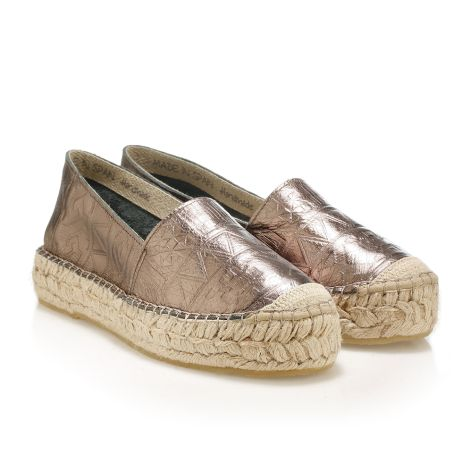 Metallic leather espadrilles bronze