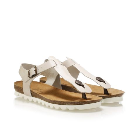 Pi-grec women's leather sandals Beige