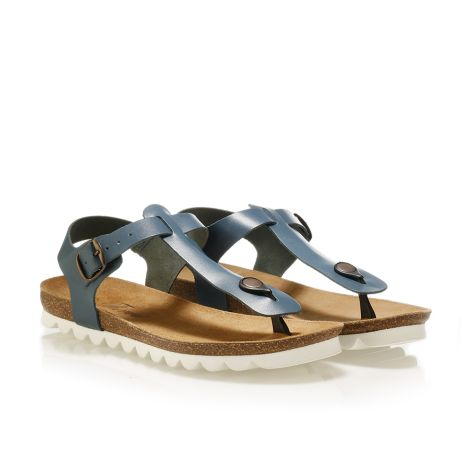 Pi-grec women's leather sandals Navy