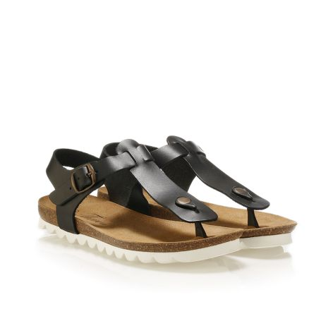 Pi-grec women's leather sandals Black