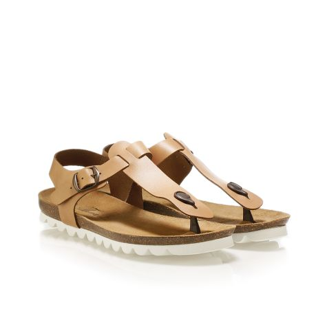 Pi-grec women's leather sandals Tan