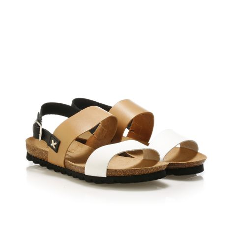 Pi-grec women's leather sandals White/Tan