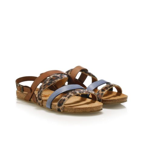 Pi-grec women's leather sandals Brown/Navy/Leopar