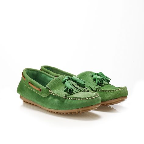 Pi-grec women's leather loafers Green