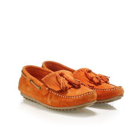 Pi-grec women's leather loafers Orange