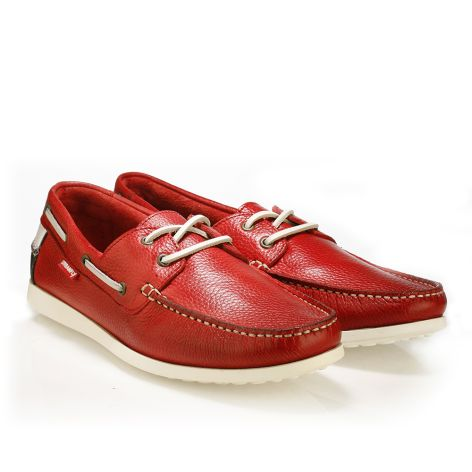 Urbanfly mens' boat shoe  Red