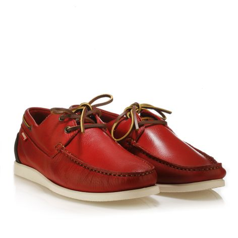 Urbanfly leather boat shoes Red