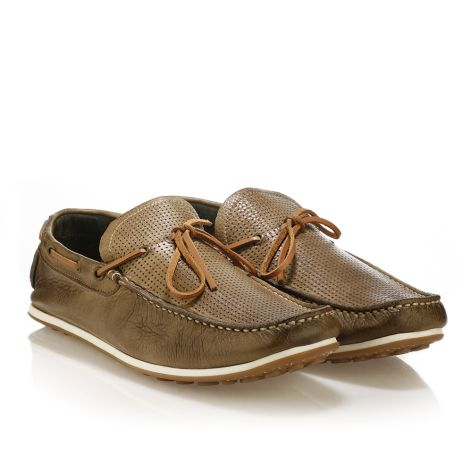 Mens Leather Boat  Khaki