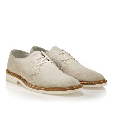 Leather laced shoes by Tavu  Beige