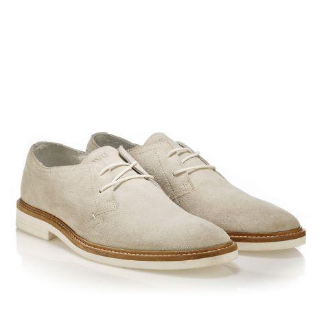 Δερμάτινο δετό παπούτσι Tavu Μπεζ